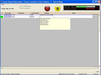 Court Room Recorder Main Screen